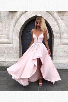 Cheap Excellent Pink Prom Dresses Pink V Neck Satin Long Prom Dress, Pink Evening Dress Best Formal Dresses, Prom Dresses Long Pink, Straps Prom Dresses, High Low Prom Dresses, Pretty Prom Dresses, Simple Prom Dress, V Neck Prom Dresses, Cheap Prom Dresses, Prom Party Dresses