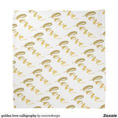 golden love calligraphy bandana