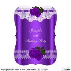 Vintage Purple Rose White Lace Birthday Party 2 5x7 Paper Invitation Card