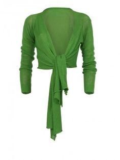Zomercollectie Twin Set. Grasgroen gebreid vest met lange mouwen en sjaalkraag. Het vest is achter kort en loopt voor in punten.
