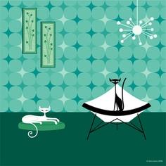 Mid-Century Modern Wall Art - retro cat - Star and Flash by KerryBeary. Mid Century Modern Art, Mid Century Art, Retro Art, Vintage Art, Illustrations, Illustration Art, Gatos Cats, Cat Drawing, Artist Art
