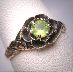 Antique Peridot Ring Vintage Victorian by AawsombleiJewelry, $795.00