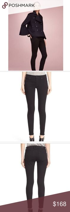 """Burberry Stretch High Rise Skinny Jeans Size W27. NWT. A saturated black wash accentuates the lean and leggy look of jeans cut from stretch denim and detailed with a leather logo patch in back. 31"""" inseam; 10"""" leg opening; 10 1/2"""" front rise; 13 1/2"""" back rise (size 29) Zip fly with button closure Dark dye may transfer to lighter materials 93% cotton, 5% polyester, 2% elastane Dry clean or machine wash cold, line dry Any Variations in color intensity are due to the dying and wash processes…"""
