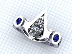 14 Kt. white gold assassins creed ring with two genuine natural blue sapphires on the sides. The center will white topaz. .50 CT marquise diamond sold seperately. This ring can be modified with any gem, any finger size, any precious metals. Send us a message with your requirements! Inside engraving included