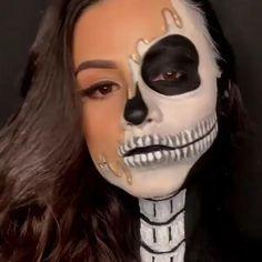 Amazing Halloween Makeup, Halloween Makeup Looks, Halloween Kostüm, Skull Makeup Tutorial, Smokey Eye Makeup Tutorial, Makeup Videos, Hair Videos, Makeup Stuff, Helloween Make Up