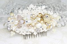 Ivory&Gold Bridal Hair CombBridal Clip Rhinestones by BrassBoheme, $59.00