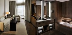 Living room and Bathroom in the Armani Hotel, Dubai.