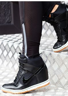 Nike  Dunk Sky Hi  Wedge  Sneaker in Black Nike Wedge Sneakers fd2f9a70856f