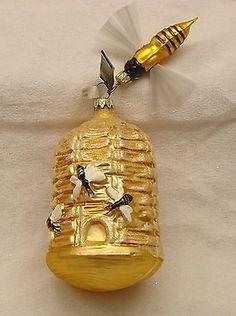 German glass bee beehive ornament