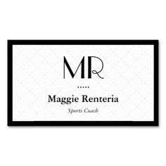 Sports Coach - Clean Stylish Monogram Double-Sided Standard Business Cards (Pack Of 100). This is a fully customizable business card and available on several paper types for your needs. You can upload your own image or use the image as is. Just click this template to get started!