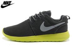buy popular a081b d12ef 2013 Mens Nike Roshe One Mesh Running Shoes Coal Black Green,Nike Shoes  Sale Online