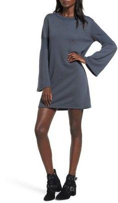 Everly Women's Bell Sleeve Sweatshirt Dress