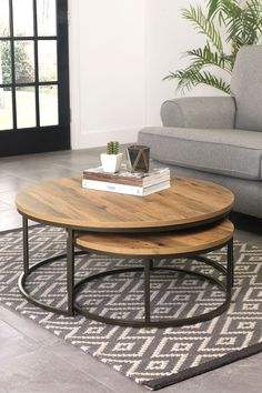 Buy Bronx Round Coffee Nest Of Tables from the Next UK online shop - Decorating coffee tables - Coffee Table Design, 2 Coffee Tables, Unique Coffee Table, Decorating Coffee Tables, Round Nesting Coffee Tables, Round Wood Coffee Table, Living Room Coffee Tables, Coffee Tables For Sectionals, Table For Living Room