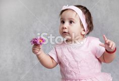 Little baby hold flower Royalty Free Stock Photo