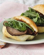 Roast Beef and Arugula Sliders with Henry Bains Sauce More