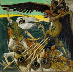 The Defense of the Sampo is an 1896 Romantic nationalist painting by Finnish painter Akseli Gallen-Kallela. The painting illustrates a passage from the Kalevala the Finnish national epic compiled by Elias Lönnrot in the century. Portal, Nordic Art, Tempera, Great Artists, Mythology, Witch, Art Prints, Artwork, Art Nouveau