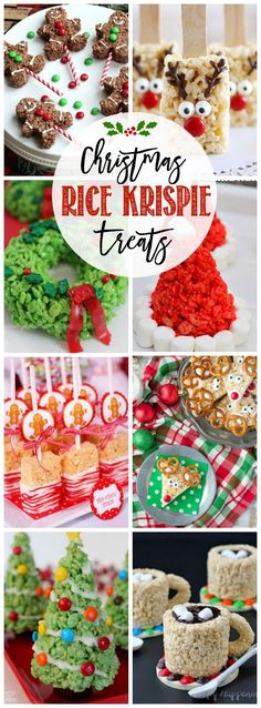 Quick, cute and easy Christmas Rice Krispie treats! Fun for class treats, Christmas parties or fun dessert ideas! Christmas Dessert For Kids, Christmas Treats For Gifts, Christmas Candy Crafts, Holiday Baking Ideas Christmas, Cute Christmas Desserts, Cute Christmas Ideas, Christmas Cookies, Christmas Recipes For Kids, Christmas Foods
