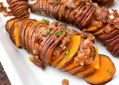 Hassleback Sweet Potatoes - Find all the #recipeinspiration you need from Johnsonville Canada http://johnsonville.ca/recipes/hassleback-sweet-potatoes.html