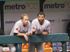 Aaron Hill & Jose Bautista so cute Young Old, Toronto Blue Jays, Go Blue, Major League, Action, Baseball Cards, Game, Boys, Sports