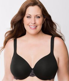 3b991daf5a8 Lane Bryant Cacique Cotton Lace Trim Full Coverage Bra Lace Black Sz 46DD  N222  fashion