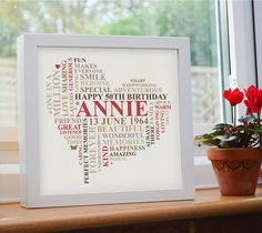 Personalised Birthday Print. 21st, 30th, 40th, 50th, 60th, 70th 80th word art gift. Heart design.
