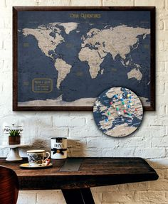 """Large World Map Pin Executive Style """"or Custom Pin Board Mounted on """"Foam Board Modern Map Print Travel Map - Large World Map Push Pin Executive Style or Executive Fashion, Executive Style, Okinawa, World Map With Pins, World Map Pin Board, Maputo, Travel Maps, Travel Posters, Interior Design Living Room"""