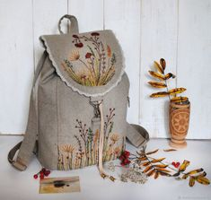 "Buy Linen backpack ""Motley grass"" - backpack, gift for . Embroidery Bags, Machine Embroidery Applique, Beaded Embroidery, Sewing Art, Sewing Crafts, Sewing Projects, Leather Bags Handmade, Handmade Bags, Cotton Shopping Bags"