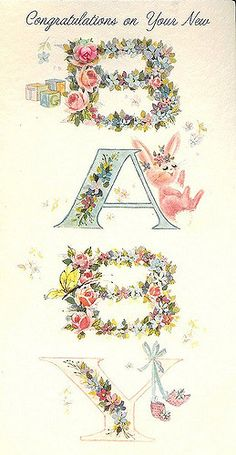 Vintage Baby Card with Bunny   Flickr - Photo Sharing!