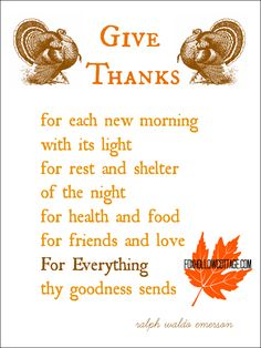 Thanksgiving Printable: Give Thanks, a Ralph Waldo Emerson Poem | www.foxhollowcottage.com #thanksgiving #printable