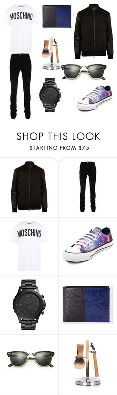 """""""Untitled #1962"""" by elsie-jones ❤ liked on Polyvore featuring River Island, AMIRI, Moschino, Converse, FOSSIL, Diesel, Ray-Ban, Cedes, men's fashion and menswear"""
