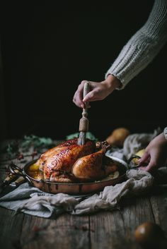 Vanilla Bean Brown Butter Roast Chicken — Adventures in Cooking http://adventuresincooking.com/2016/12/vanilla-bean-brown-butter-roast-chicken.html