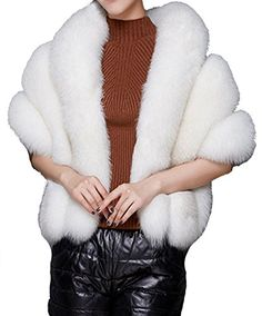 Helan Womens Soft Long Faux Fox Fur Shawl Striped White * Learn more by visiting the image link.
