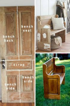 25 Diy Recycled Door And Window Projects Repurposed Furniture DIY Door Projects Recycled Window Furniture Projects, Furniture Makeover, Home Projects, Diy Furniture, Garden Furniture, Old Door Projects, Furniture Plans, Shaker Furniture, Classic Furniture