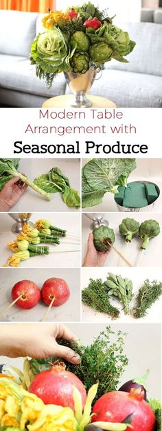 Not all floral arrangements need to have flowers. Showcase the bounty of fall in all its glory, with cabbages, artichokes, pomegranates and other seasonal fruits and vegetables. It's a great addition to your table top this season! www.ehow.com/...: