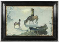Horse at a pond in winter landscape, oil painting, 1970s, by Stepan Omelianovich Nechai, a very well listed Ukrainian artist from Ternopol, West Ukraine. For more details, see our description on ebay ... #FineArt #artforsale #antiques #originalart #christmas #christmasdecorations #russianart #christmasornaments -- winter times, Christmas story, horse riding, Russia, snowing, snow, ice. Enjoy original art works - a perfect present! A Christmas Story, Winter Christmas, Christmas Decorations, Christmas Ornaments, Russian Art, Winter Landscape, Horse Riding, Winter Time, Seasonal Decor