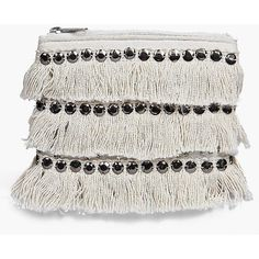 Boohoo Boutique Boutique Moroccan Sequin And Fringed Purse ($10) ❤ liked on Polyvore featuring bags, handbags, clutches, white, handbag backpack, evening handbags, handbags crossbody, white envelope clutch and purse backpack