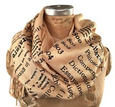 Literary scarf. Dewey #Decimal for #Literature book #print scarf. Silkscreened pa, View more on the LINK: http://www.zeppy.io/product/gb/3/251224269/