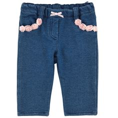 Denim blue stretch fleece pants made of cotton and elastane blend. Straight cut. Elasticated waistband. False fly. Small flowers on the front pockets. Patch back pockets with a glittery monogram on one side. - $ 108.00