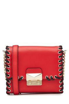 KARL LAGERFELD Leather Shoulder Bag. #karllagerfeld #bags #shoulder bags #leather #lace #