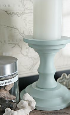 See how I turn thrift store finds into beautiful DIY home decor! Inexpensive Thrift Store painted candlesticks = Beautiful Home Decor!