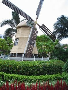 a traditional Dutch windmill found in the city of Malacca...
