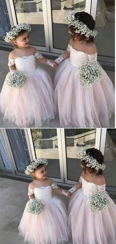 a10647bc530ba Cute Off the Shoulder Lace A Line With Appliques Flower Girl Dresses F51.  Kid ...