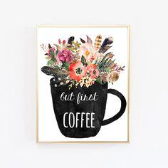 But First Coffee Print Dorm Wall Art by WordsAndConfetti on Etsy