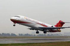 O primeiro ARJ21-700 em operação tem capacidade para 90 passageiros (Chengdu Airlines)Primeiro avião totalmente fabricado na China.