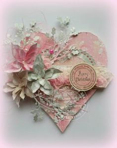 Arnabeth Omrani pinned the most amazing cards, her gallery is well worth visiting. Christmas Hearts, Christmas Makes, Beautiful Christmas, Shabby Chic Christmas, Handmade Christmas, Valentine Crafts, Valentines, Shabby Chic Hearts, Heart Crafts