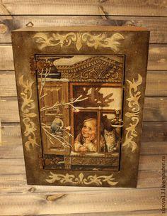 Шкафчик ` Доброе утро!`. Большой , вместительный шкафчик ' Доброе утро!' выполнен  в технике декупаж, украшен объемными узорами,которые   повторяют узоры  на рисунке, искусственно  состарен.Предназначен для хранения лекарств или различных мелочей.