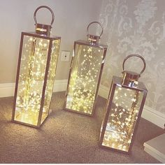 These light-filled lanterns are the easiest DIY decor hack. Christmas Fairy Lights, Decorating With Christmas Lights, Holiday Lights, Christmas Diy, Holiday Decor, Decorate With Lights, Christmas Quotes, Outdoor Christmas, Handmade Christmas