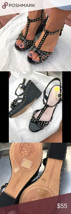 """Vince Camuto Spike-studs sandals. Very stunning- """"Valentino look"""" spike studs platform sandals, very comfortable never used, black/gold accents, true to size. Vince Camuto Shoes Platforms"""