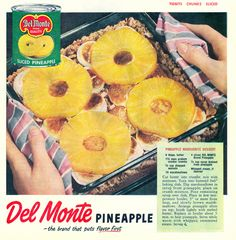 Pineapple Marguerite Dessert.  Canned pineapple rings on top of marshmallows.  I wonder if this was named after Marguerite Patten, the queen of bad recipe vintage recipes.  (Good Housekeeping, 1951)