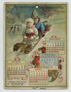 1889 Met Life Insurance Co NY Advertising Trade Card Calendar Sledding XB6843 | eBay